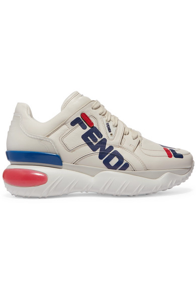 FENDI LOGO PRINT LEATHER AND RUBBER SNEAKERS. #fendi #shoes