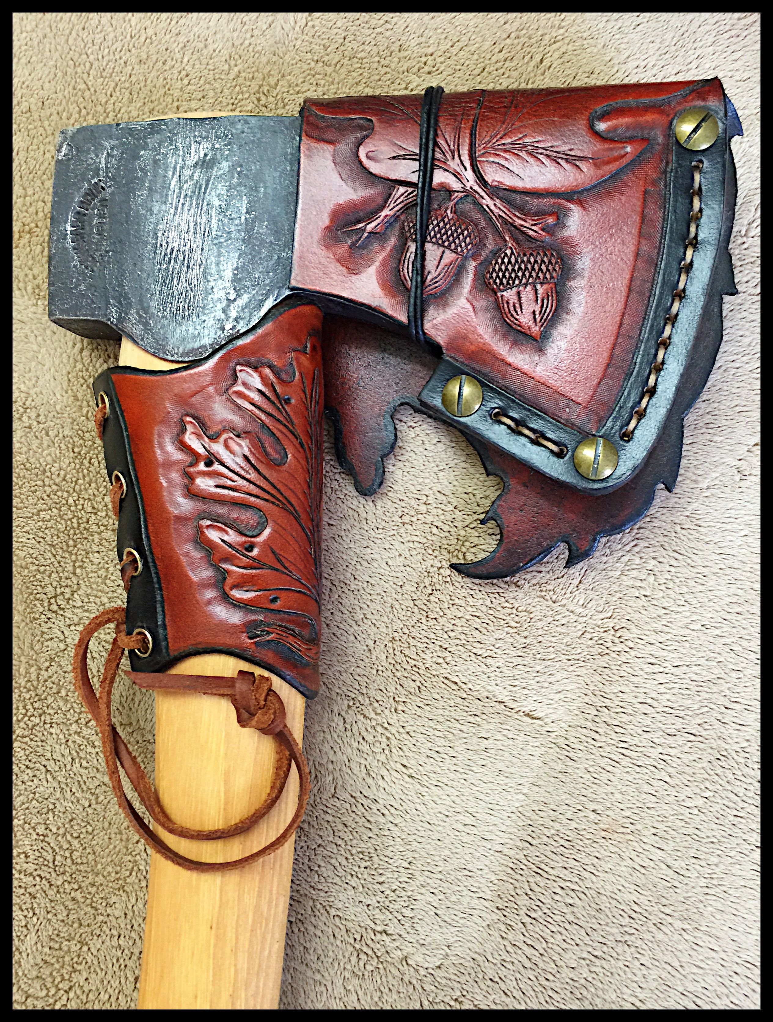 Gransfors Bruks Scandinavian Forest Axe 430 With Custom Leather By John Black Leather Hand Tooled Leather Leather Pouch