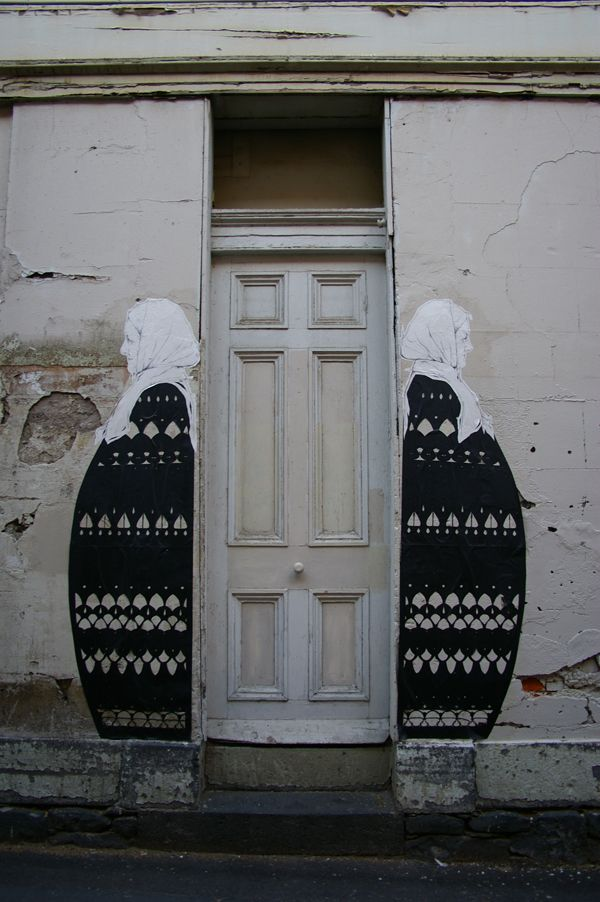 Stanislava Pinchu (Miso) street art. Old women guarding the door love it & Stanislava Pinchu (Miso) street art. Old women guarding the door ...
