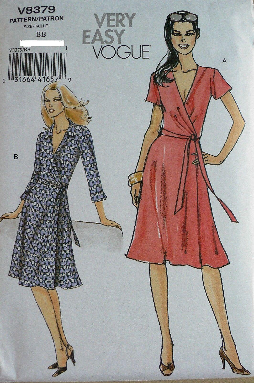 Very Easy Vogue V8379 Misses Wrap Front Dress Sewing Pattern Miss Plus Sz 8 22 Wrap Dress Sewing Patterns Wrap Dress Pattern Dress Sewing Patterns [ 1600 x 1064 Pixel ]