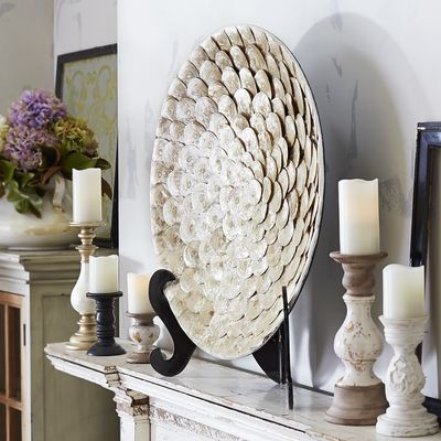 Capiz Shell Decorative Platter with Stand  Pier 8 Imports