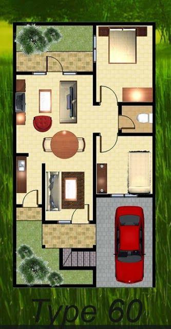 Denah Rumah Minimalis Type 60 Denah Rumah Rumah Minimalis Rumah