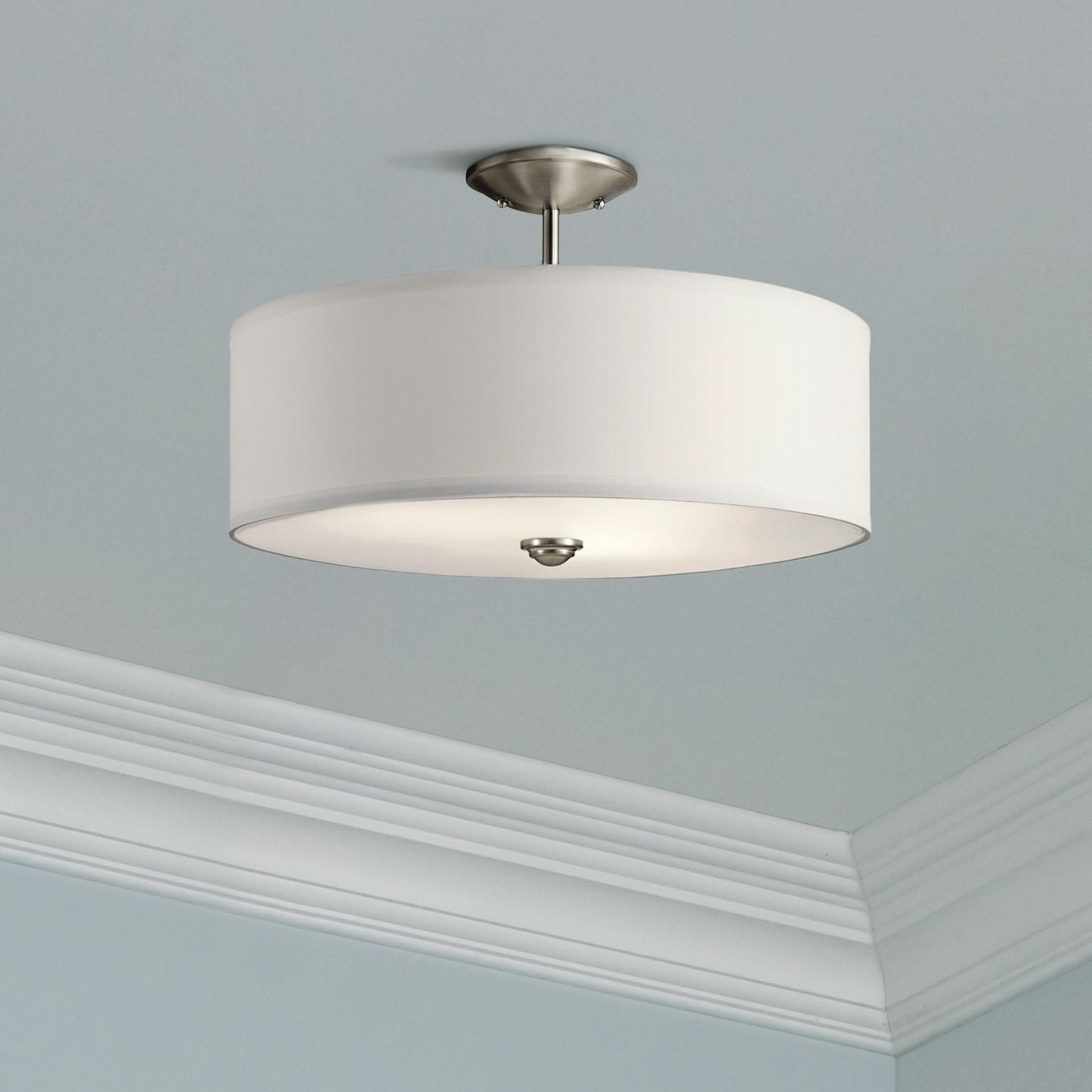 Close To Ceiling Lights Shailene 18 Wide Brushed Nickel Drum Ceiling Light Drum Ceiling Lights Ceiling Lights Bedroom Ceiling Light