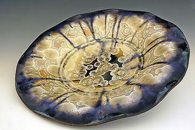 "BILL CAMPBELL Art Pottery 19.5"" Platter/Bowl  Crystalline Glaze Porcelain WoW !"