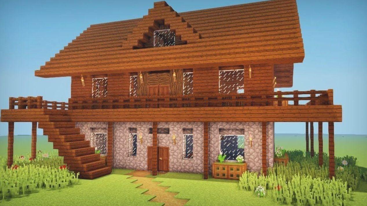 Minecraft: How to build a dark oak wooden house  Casas minecraft