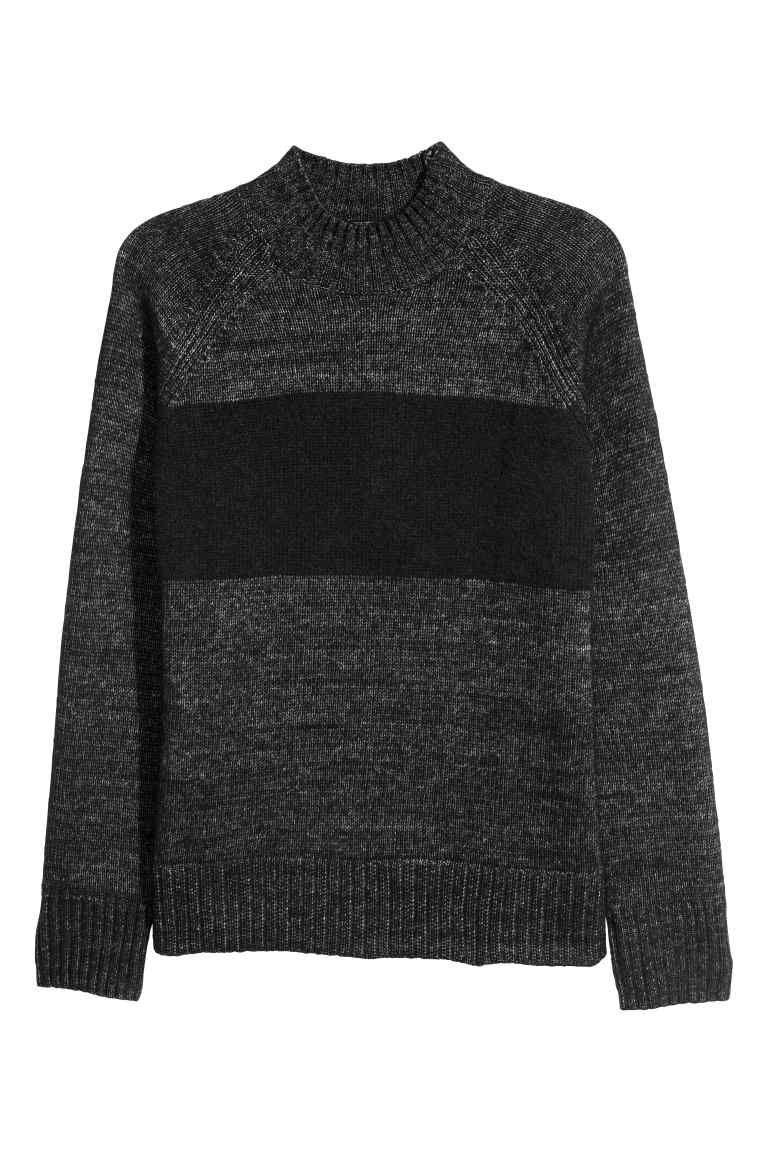 966a4f75771 Pletený svetr se stojáčkem - Černá šedý melír - MUŽI