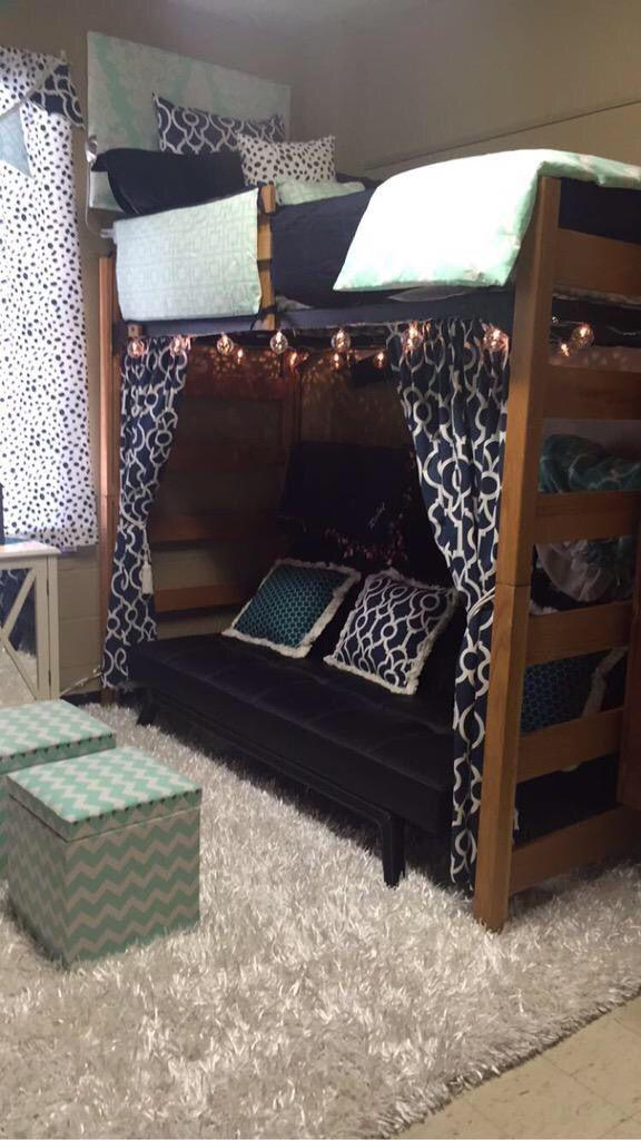 Dorm Room Loft Beds: Décor 2 Ur Door Dorm Bedding Navy And Mint Lofted Bed