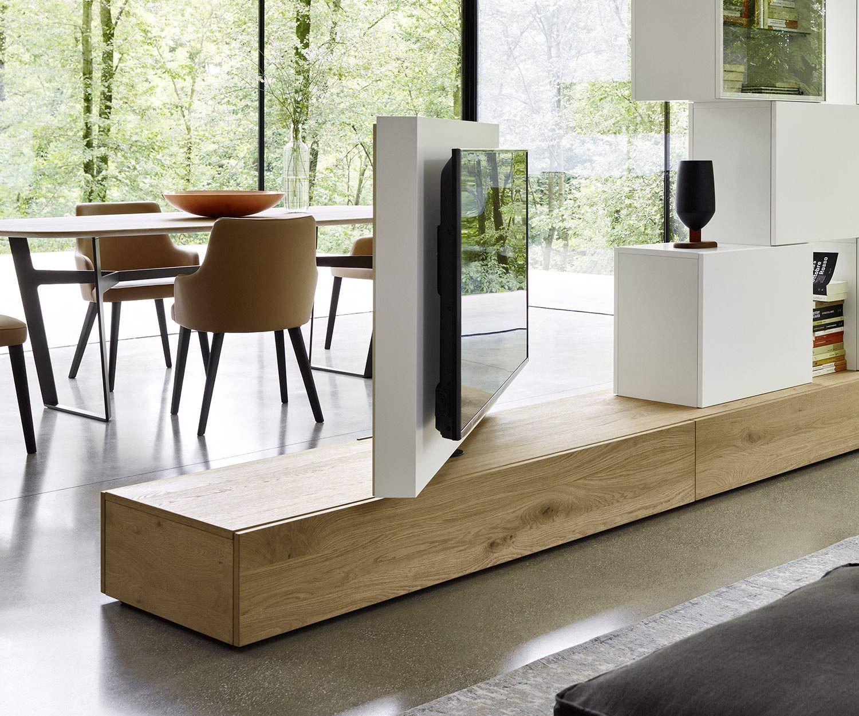 Livitalia Roto Lowboard Raumteiler Mit Drehbarem Tv Paneel Moderne Raumteiler Raumteiler Tv Wand Raumteiler