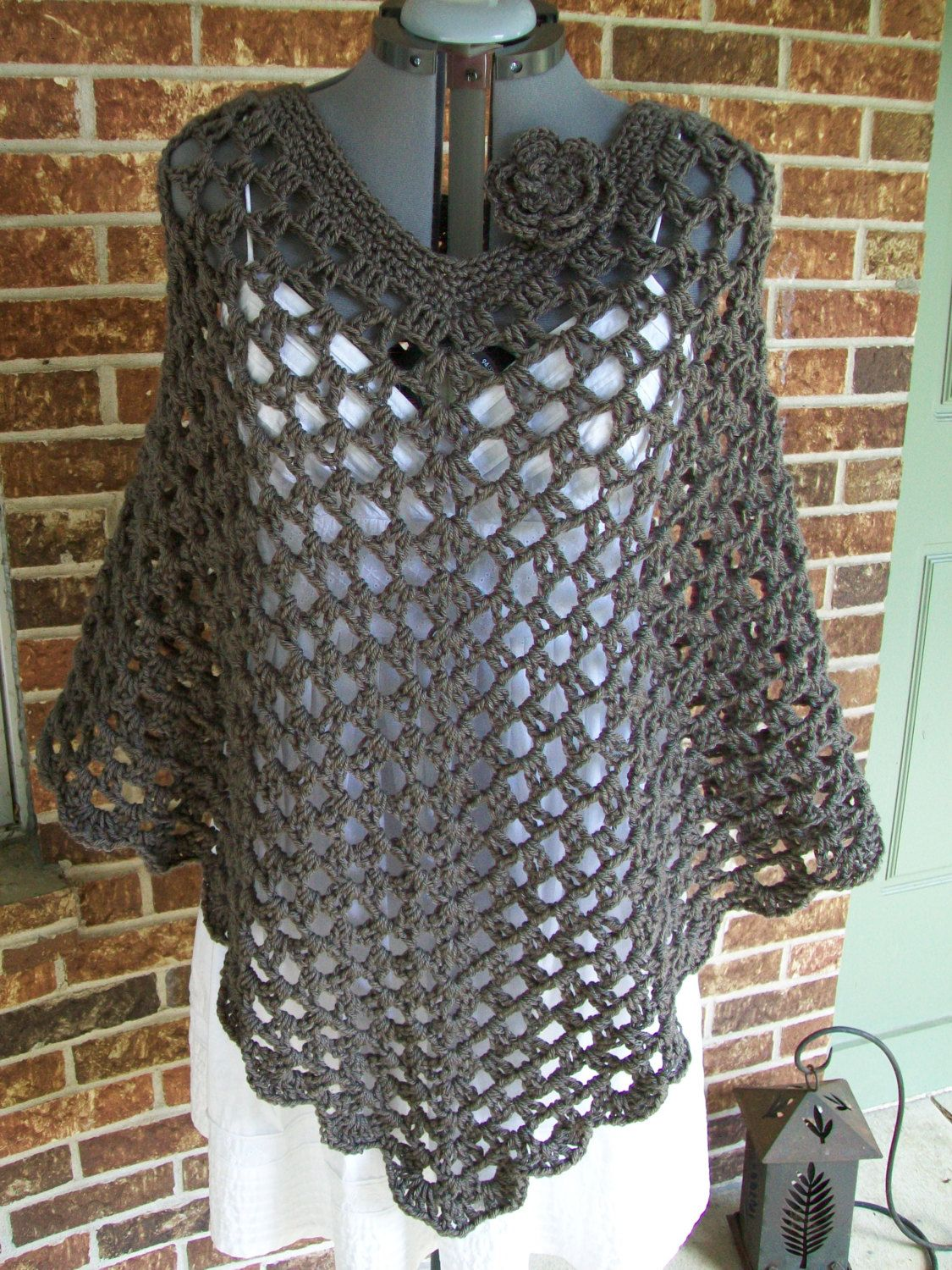 Plus Size Crochet Poncho Cover Up Shawl Wrap with por more2adore ...