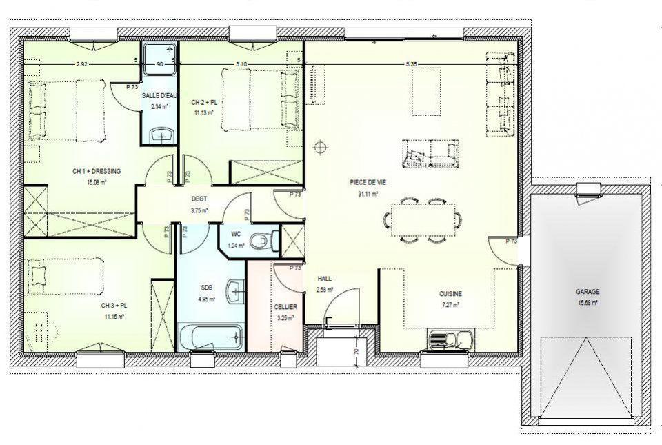 Plan Maison Neuve À Construire - Marc Junior Open Plain Pied 95