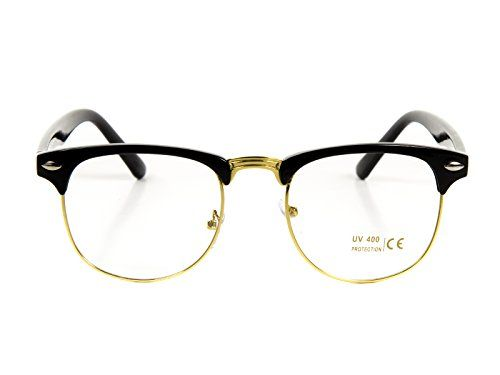 Black and Silver MENS LARGE Clubmaster Wayfarer Style Glasses Clear Lens Half Frame Retro Nerd