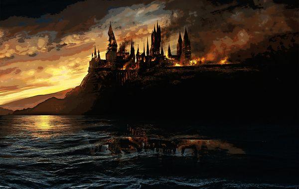 Harry Potter Hogwart S Burning Art Print Harry Potter