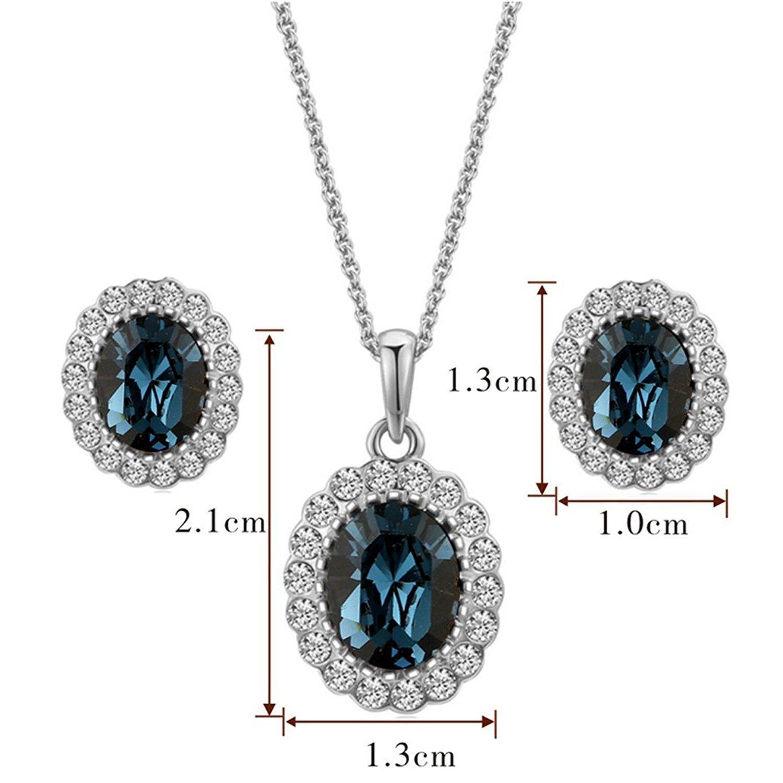 Elegant bridal jewelry set k white gold pated blue sapphire
