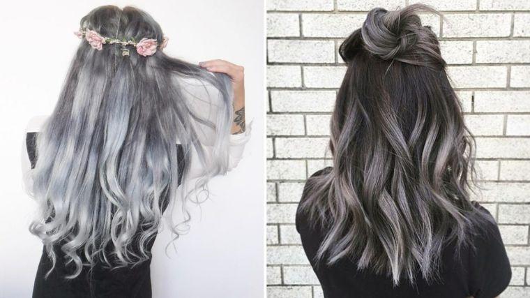 Tinta capelli grigio cenere, acconciatura capelli lunghi ...