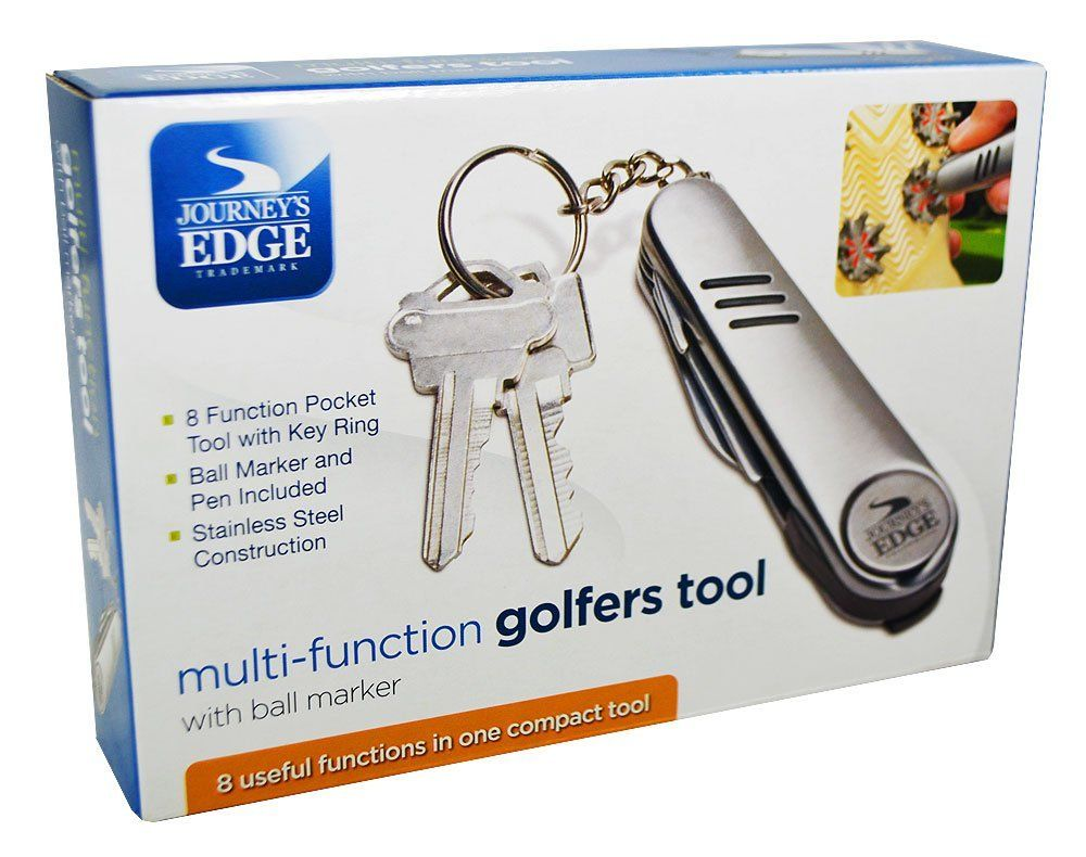 New Journey's Edge All in One Golf Tool  Why carry several golf gadgets when you can conveniently carry just 1? The 8 in 1 Golfer's Tool by Convenient Gadgets & Gifts has everything you'll need.