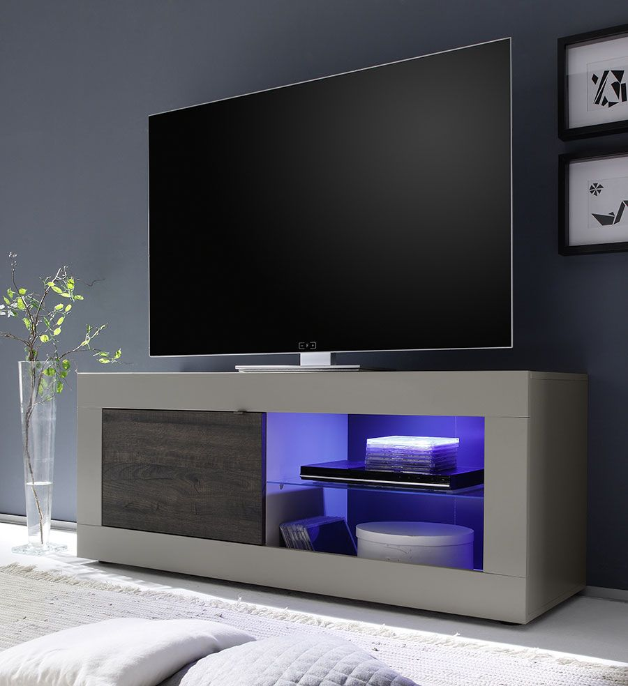 Meuble Tv Taupe Et Weng Moderne Avec Option Clairage Led Felino  # Le Corner Meuble Tv Blanc Led Hi Fi Integre