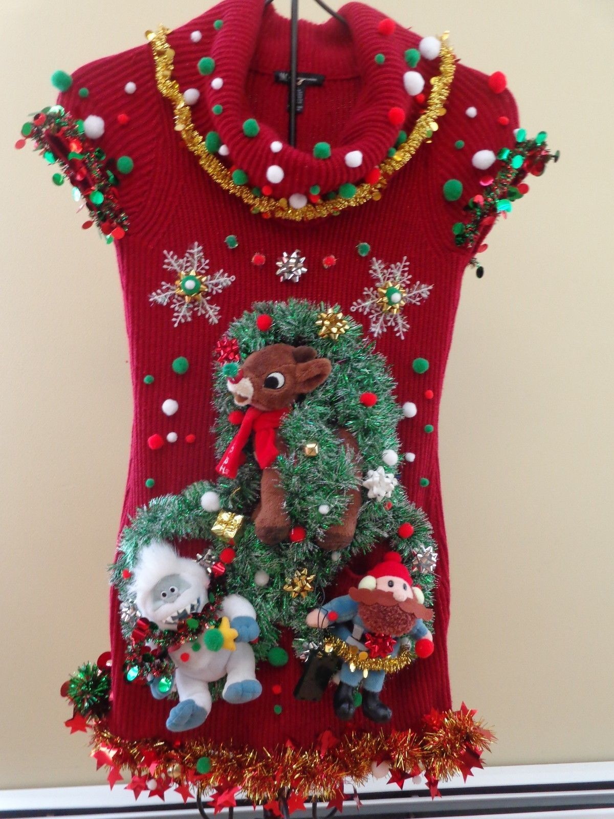 ugly christmas sweater dress womens small stretchy prize winner misfit toys ebay - Misfits Christmas Sweater