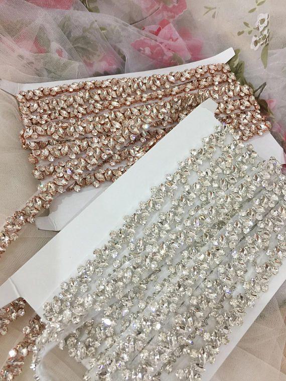 Thin rhinestone and crystal beaded lace trim for wedding belt
