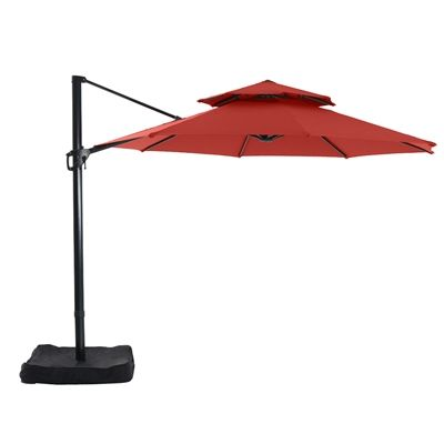 Garden Treasures Collection Name Red Offset Patio Umbrella Base Included  (Common: 9 Ft