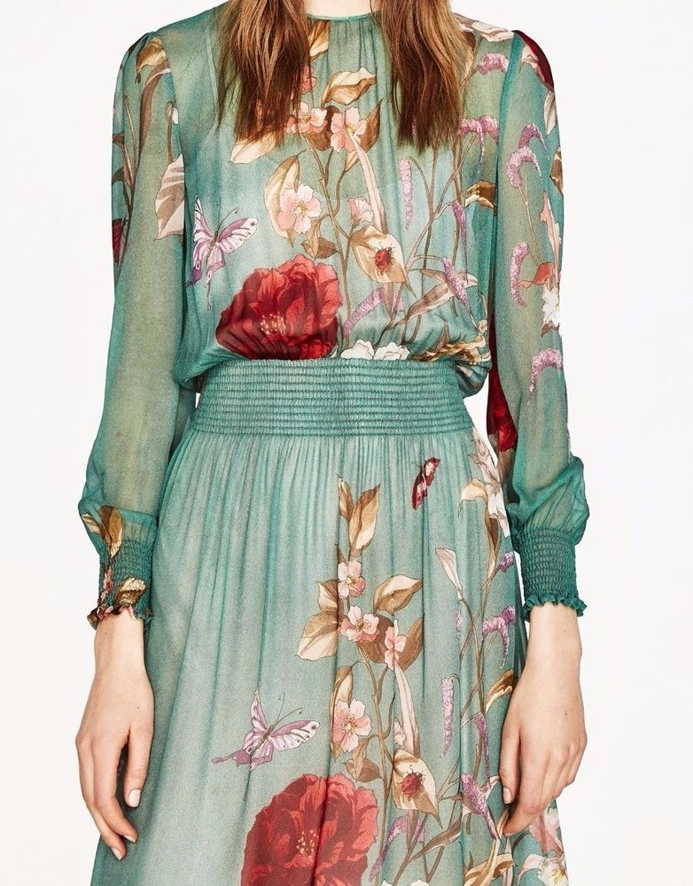 1fb86342e345e1 ZARA WOMAN MIDI FLORAL PRINT FLOWING DRESS FLOUNCED SEA GREEN 2485 706 NEW  SS17 in Clothing