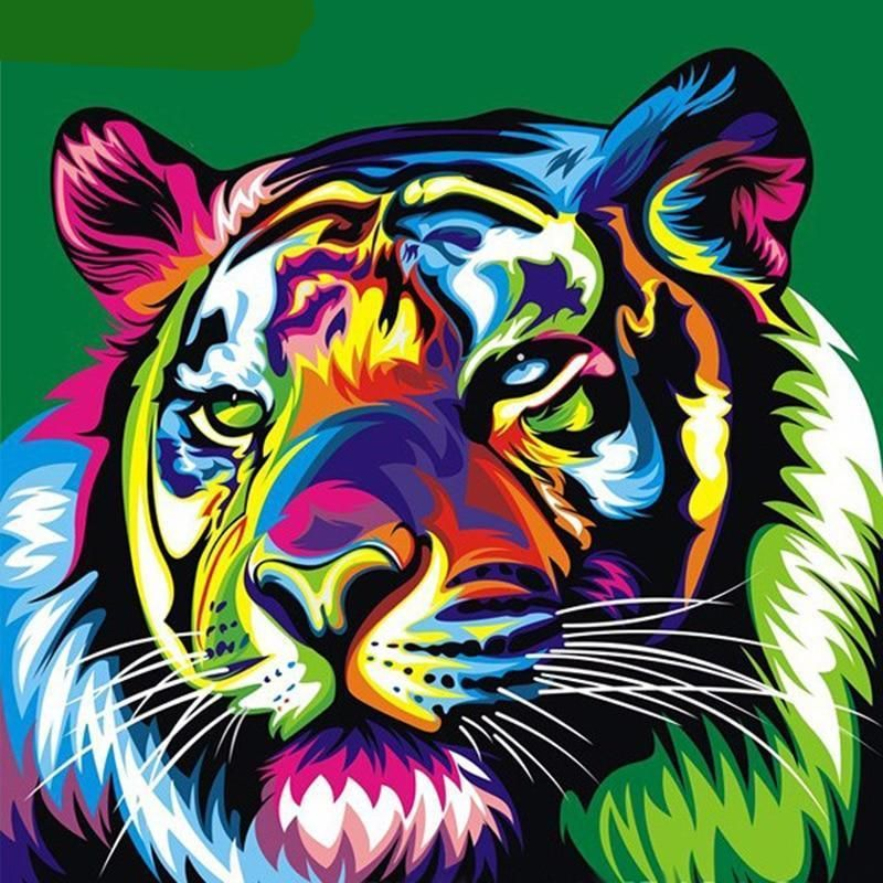Tiger Painting Print Design Backpack and Pencil Case Set