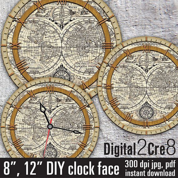 World map antique style large clock face for making wall clock - clock face template