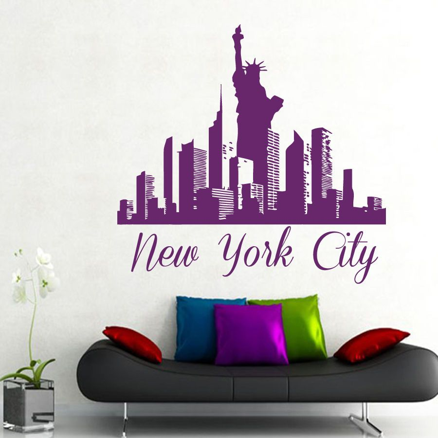 New York City Wall Decal Skyline Decals Vinyl Sticker Home Bedroom