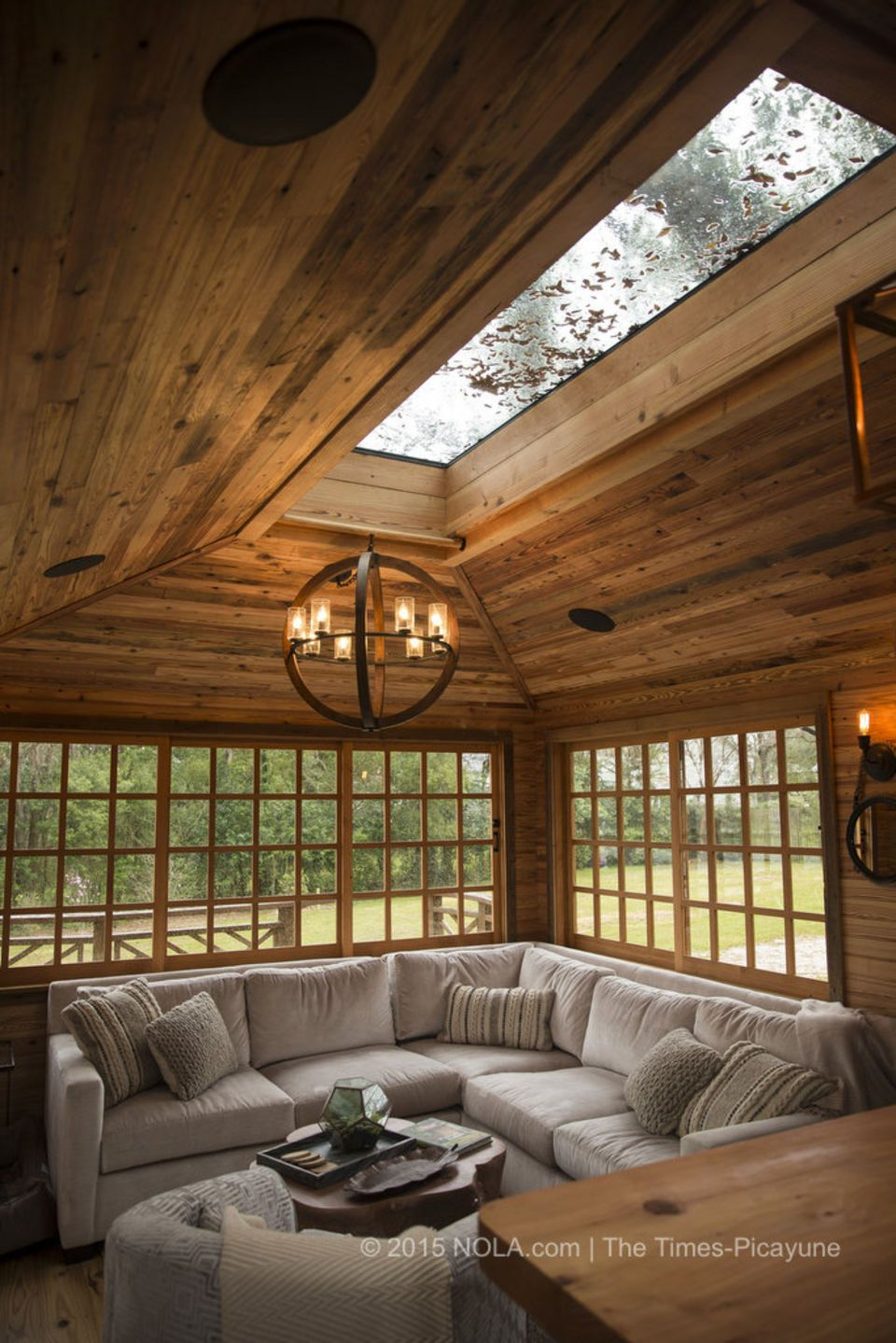 The main living room area with a view of the skylight in the treehouse that Raising Cane founder and CEO Todd Graves and his wife, Gwen, had built behind their Baton Rouge home. The house was photographed on Thursday, March 5, 2015. (Photo by Chris Granger, Nola.com | The Times-Picayune)