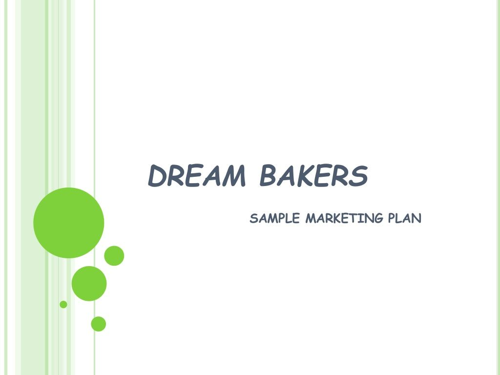Dream Bakers Sample Marketing Plan  Business Consulting