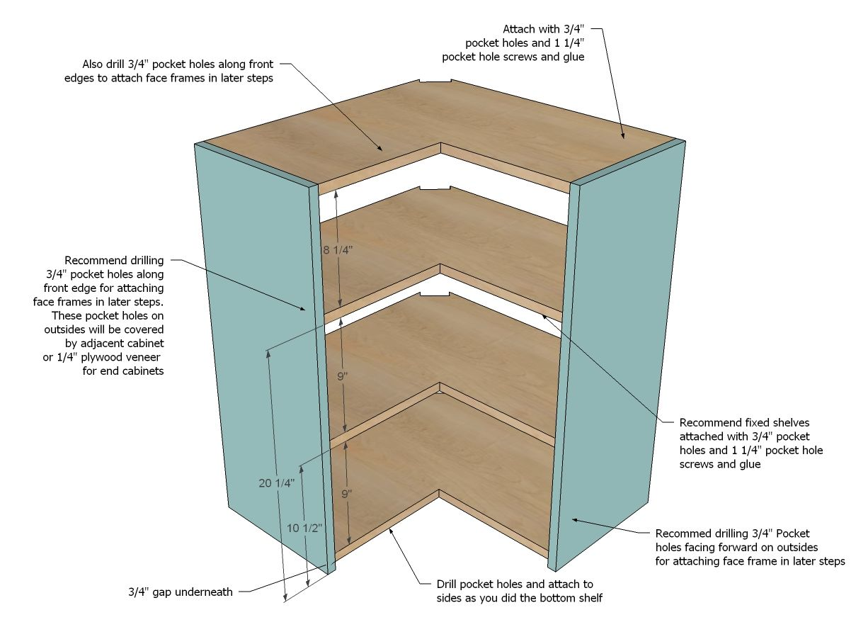 How To Build A Corner Kitchen Cabinet Ana White Build A Wall Corner Pie Cut Kitchen Cabinet