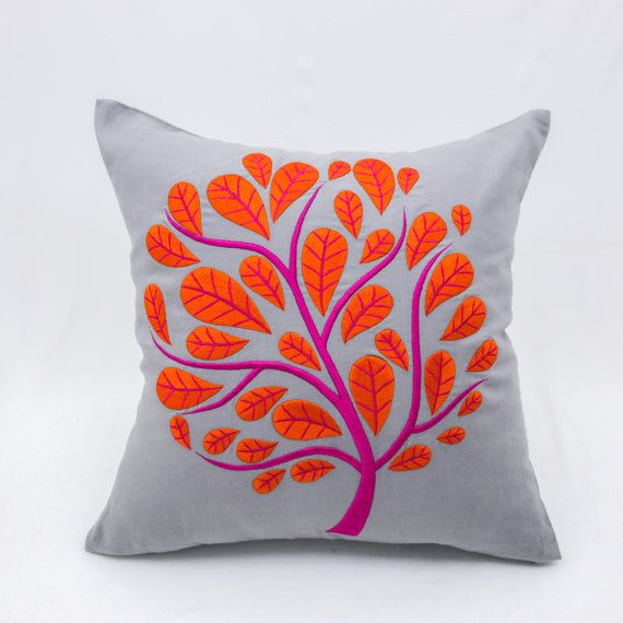 Light gray peacock pillow cover made with light gray linen fabric and embroidered with orange peacock tree.  This pillow cover has hidden zipper at the bottom side and it is available in size 16 x 16, size 18 x 18, size 20 x 20. Choose the size you need by using the Size drop down menus. This listing is for pillow cover only without insert/filler.  More gray pillow covers are available here https://www.etsy.com/shop/KainKain?section_id=5818832&ref=shopsection_leftnav_5  This pillow cover is…
