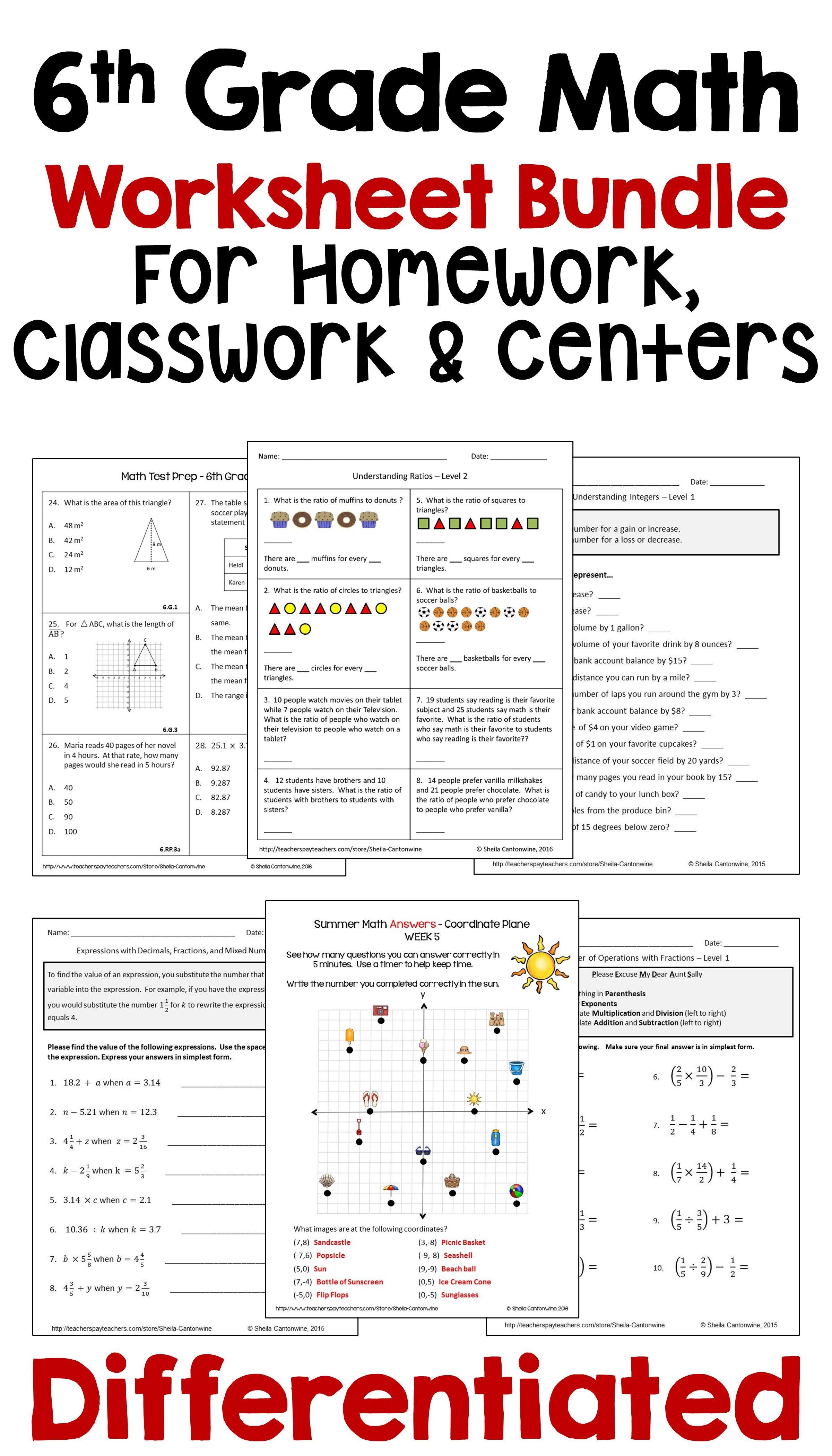 medium resolution of 6th Grade Math Worksheet Bundle for Homework