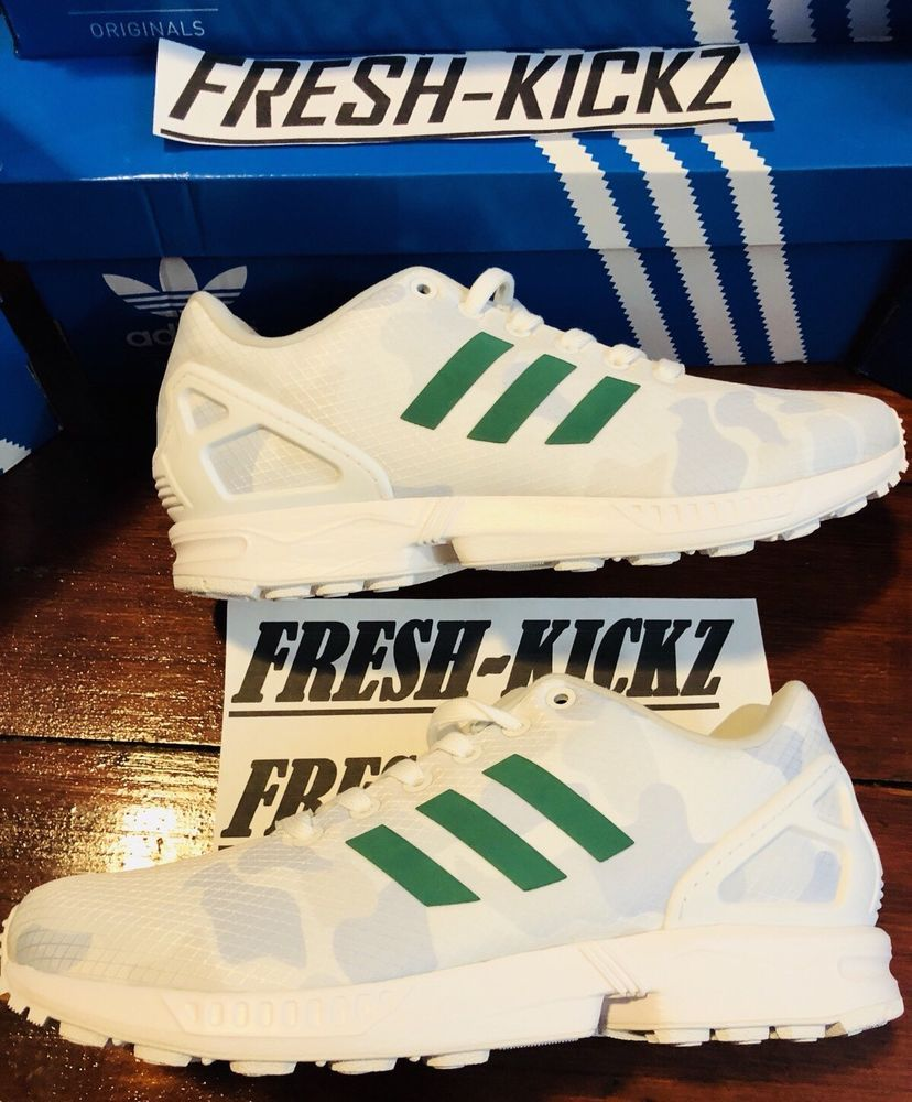 newest 9eb13 8bf79 ADIDAS Celtics ZX FLUX Size 12 White Green Bape like details ...