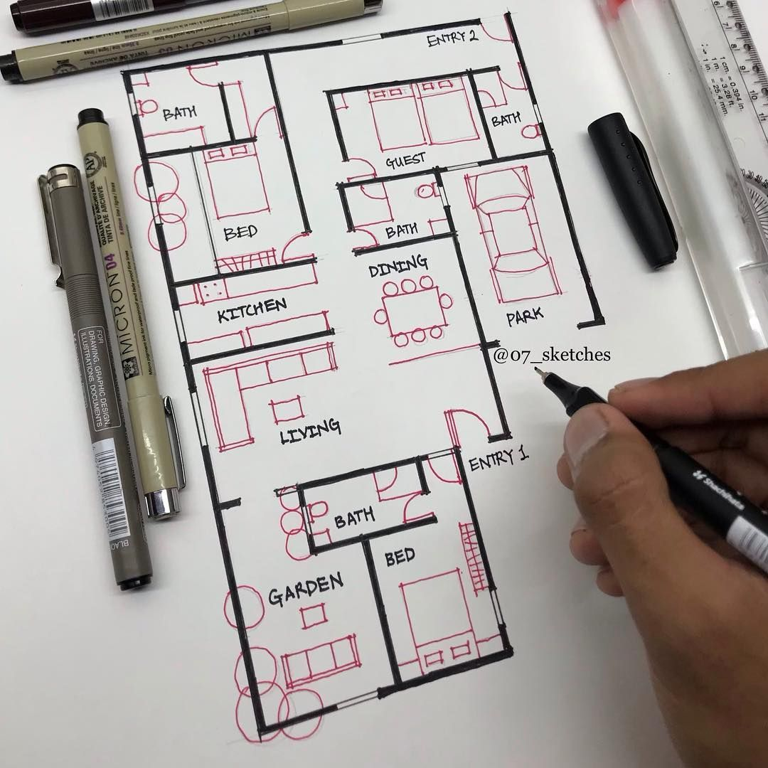 Bhupesh Mithanlal Malviya Di Instagram Floor Plan Which One Will You Prefer Floor Plan Floor Plan Sketch Drawing House Plans Architecture Design Sketch