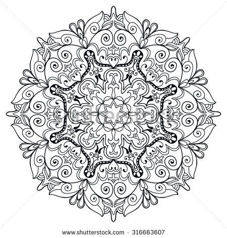 f2ae60f6b07e7 Black and white Mandala round ornament, tribal ethnic pattern, arabic Indian  motif, isolated decorative element for card design, t-shirt print.