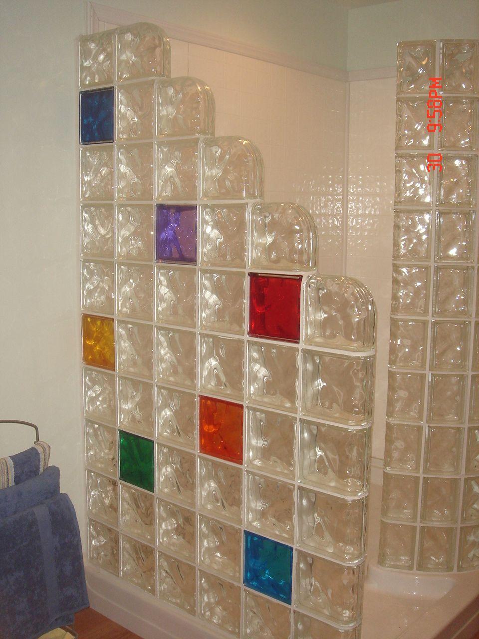 Glass Block Shower Stall With Colored Glass Blocks Steklobloki