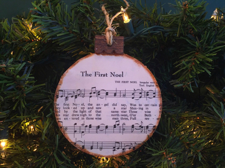 Wooden christmas tree ornament christmas music ornament christmas