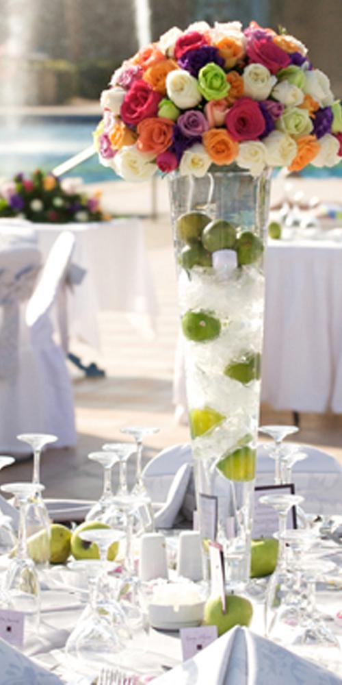 Wedding decoration ideas - flower centerpiece - lemon and fruits ...