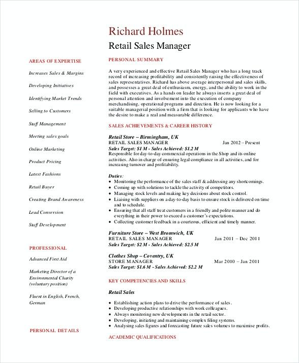 Retail Sales Manager Resume , Sales and Marketing Manager Resume - resume for sales manager