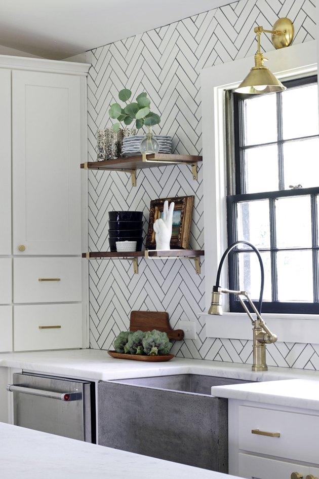 10 Herringbone Kitchen Backsplash Ideas Better Than Subway Tile Hunker Kitchen Backsplash Trends Grey Kitchen Designs Backsplash Trends
