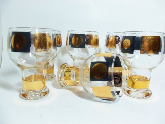 Barware cera coins set of 6 beer or ale glasses by thevintageporch barware cera coins set of 6 beer or ale glasses mad men mid century black gold barware lowballs highballs gumiabroncs Image collections