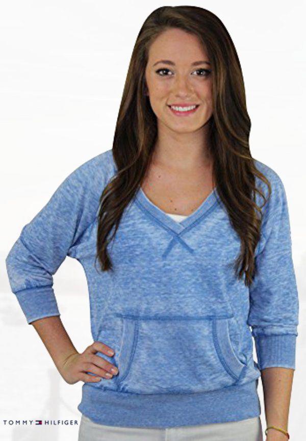 Tommy Hilfiger Girl Junior's Deep V-Neck Sweatshirt Top