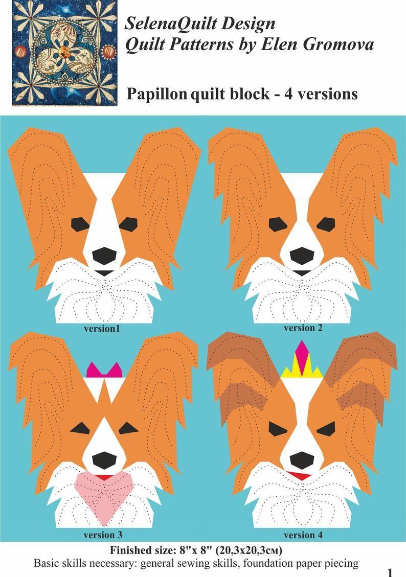 Papillon Dog Quilt Block Pattern Etsy Dog Quilts Animal Quilts Papillon Dog [ 1129 x 794 Pixel ]