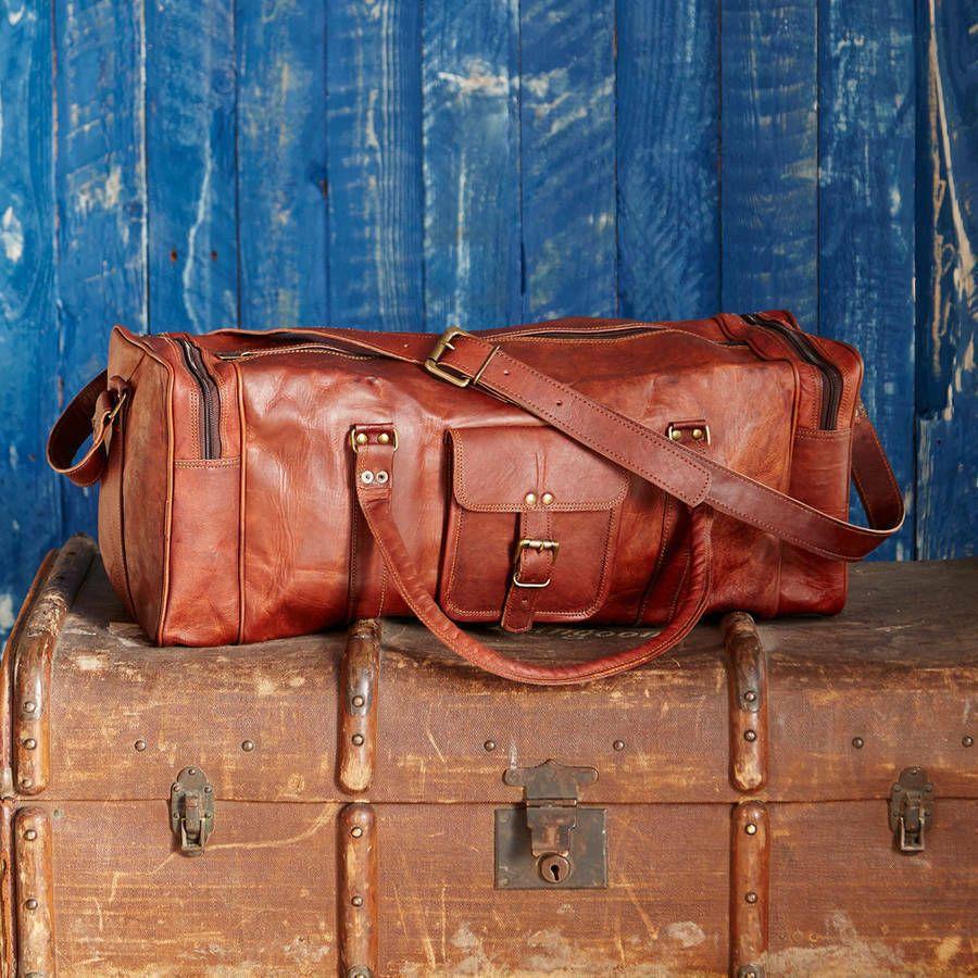 Mens Genuine Leather Vintage Duffel Overnight CarryOn Travel Luggage Gym Bag