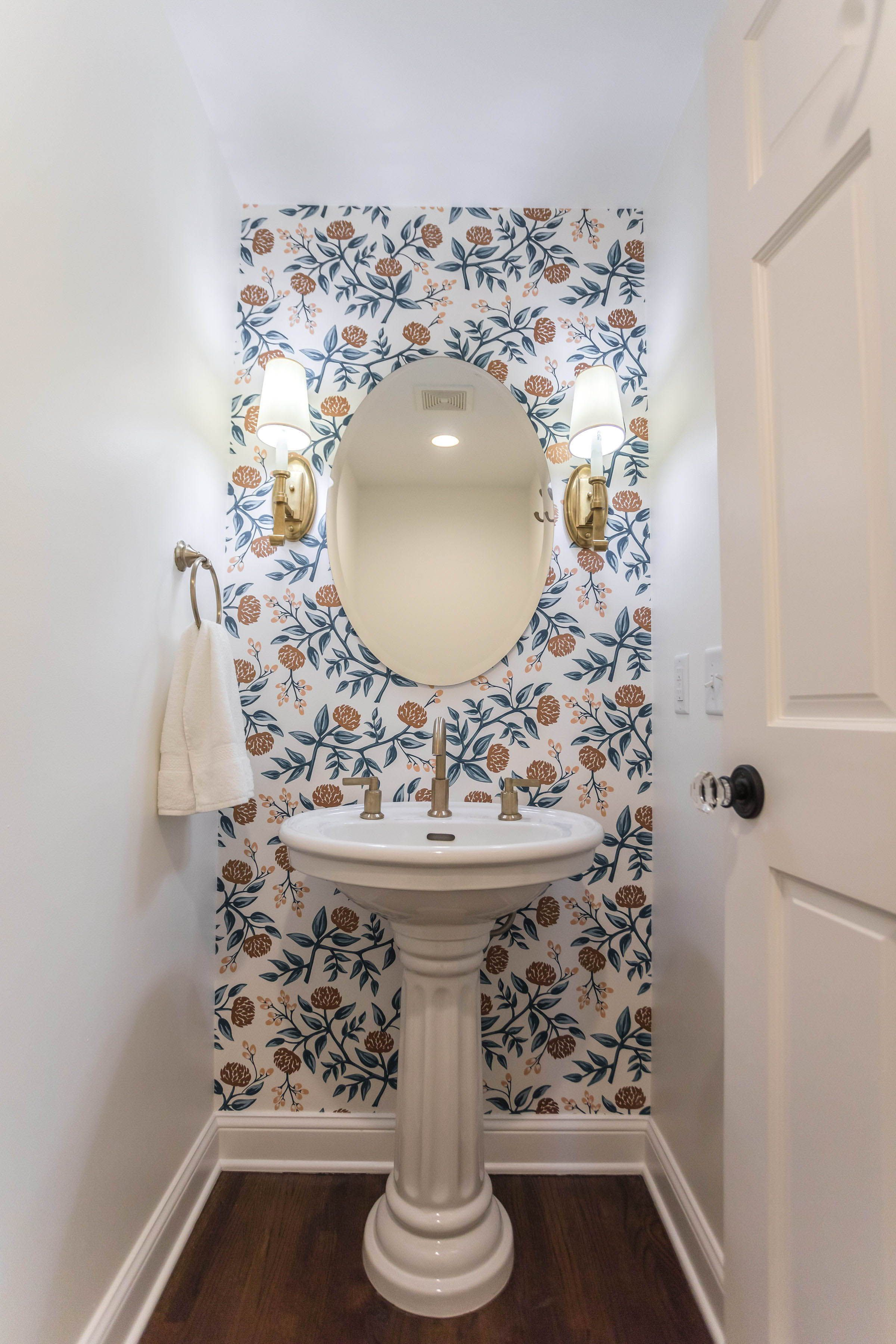 Powder Bathroom With Floral Wallpaper And Gold Faucet Jkath