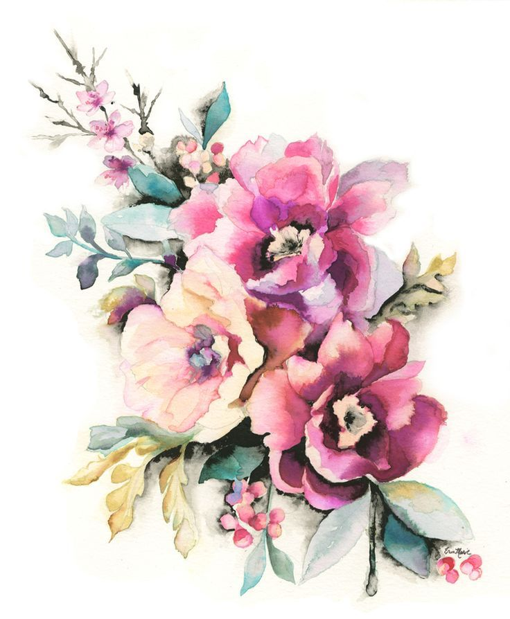 Peony Watercolor Flower Tattoos: Erin Marie Illustration #Peony #floral #watercolor