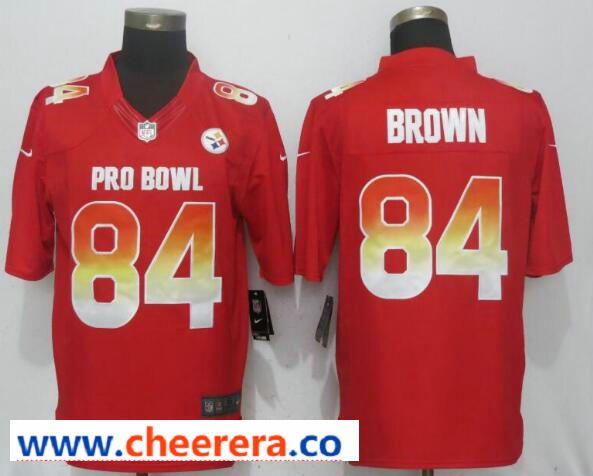Nike AFC Steelers 84 Antonio Brown Red 2019 Pro Bowl Limited Jersey ... beec78ef7