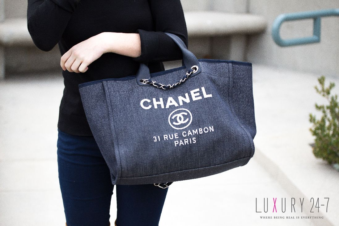 Chanel Deauville Bag 2015 Tote Bag Navy Large