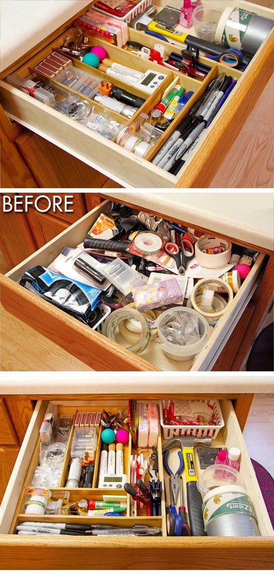 30 Easy Storage Ideas For Small Spaces Junk Drawer Organizing Simple Storage Kitchen Organization Diy