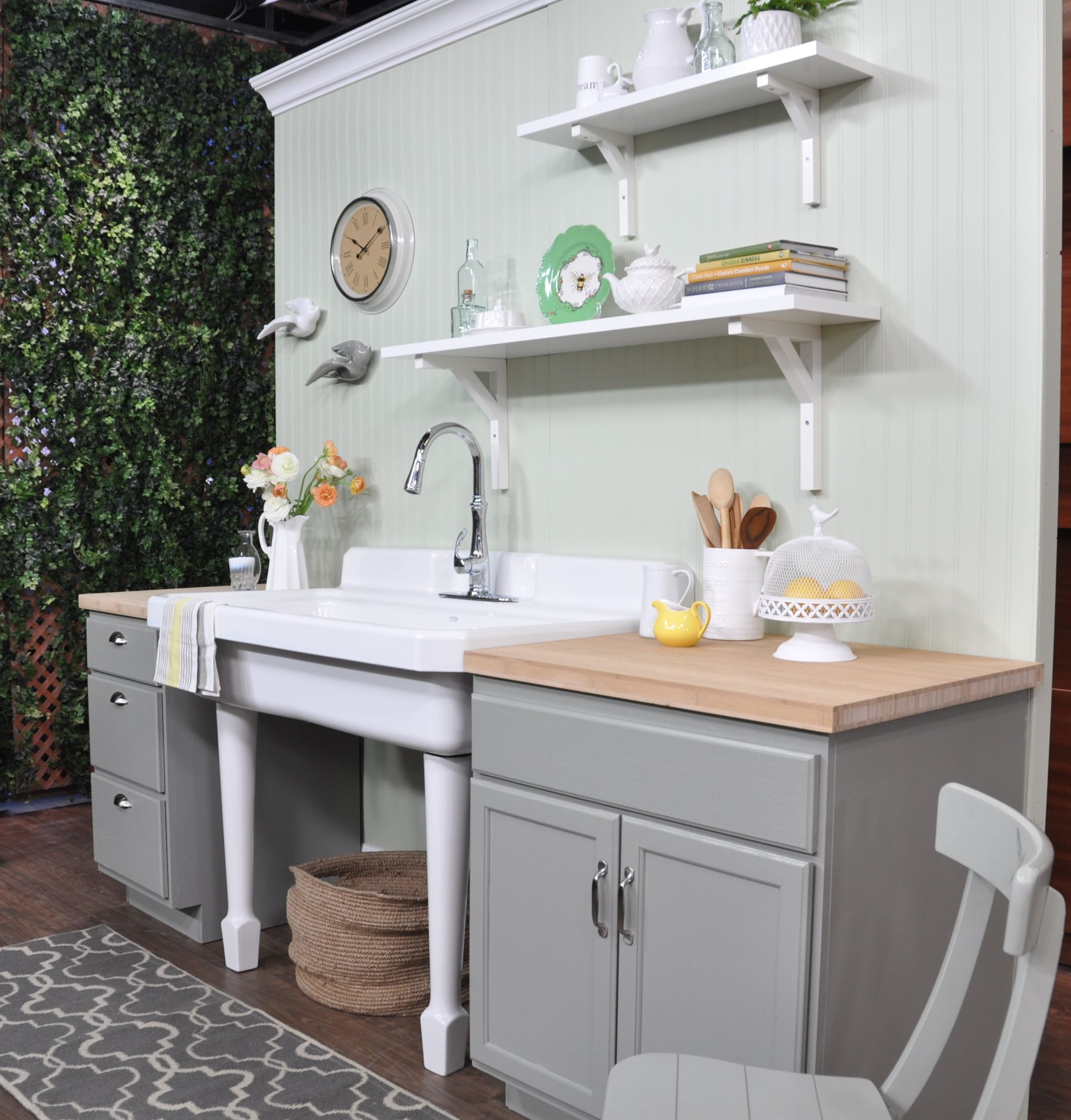painted farm-house kitchen: bead-board wall painted Benjamin Moore\'s ...
